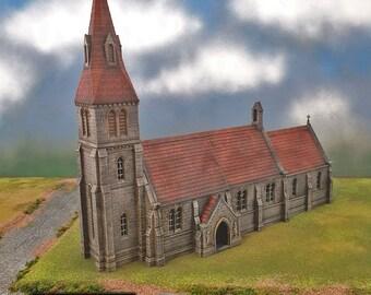Medieval Church village terrain building by Printable Scenery