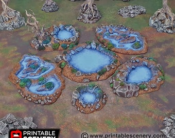 Fey Marshes Pools scatter terrain by Printable Scenery