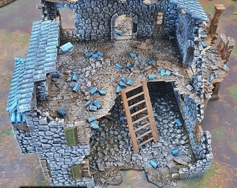 Ruined Port Tavern village terrain building by Printable Scenery