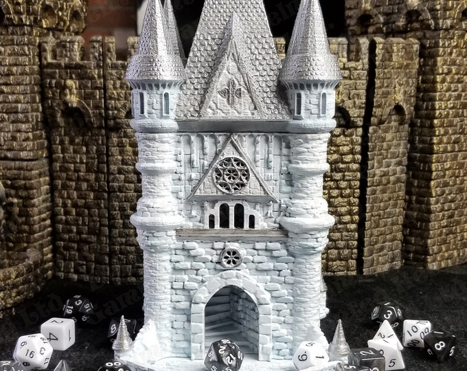Featured listing image: Fates' End Cleric Dice Tower w/Textured Tray-Painted & table ready