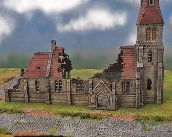 Medieval Church Ruins village terrain building by Printable Scenery