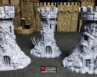 Goblin Guard Towers, Goblin Grotto terrain by Printable Scenery