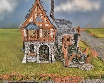 Ruined Winterdale Tavern village terrain building by Printable Scenery