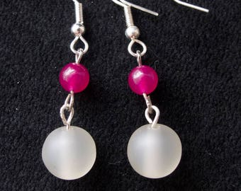 White & Pink dangle earrings