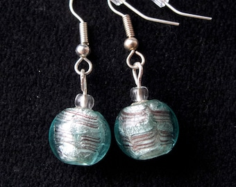 Brown and Aqua Striped Glass Bead Earrings