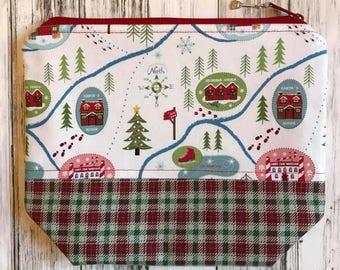 PRE-ORDER Santa's Village Knitting or Crochet Project Bag