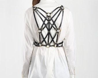 07e2ca50b JAKIMAC Ela Weave Harness Belt   Black Genuine Leather Intricately Woven  Double Belted Harness