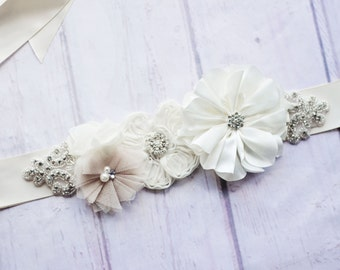 Bridal Sash Belt, Bridesmaid Sash, Maternity Sash, Flower Girl Sash, Ivory Sash, Bridal Belt, Ivory Bridal Belt,