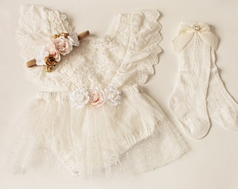 First birthday Outfit Girl, Off white Lace Baby Girl Romper Socks, Christening/Baptism, Cake Smash Outfit