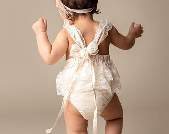 First birthday Outfit Girl, Baby Romper, Champagne Boho Girl Romper, Rustic Baby Romper, Cake Smash Outfit