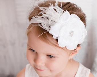 White Flower Girl Headband | Newborn, Christening, Baptism, Flower Girl, Baby Shower Gift, Newborn Photography Prop, Infant Hair Bows