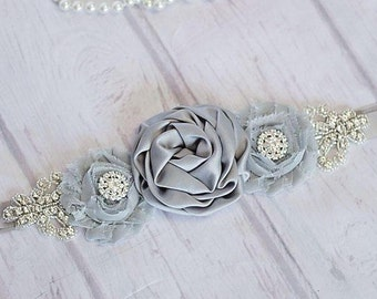 Rustic Bridesmaid Sash, Gray Sash / Belt,   Bridal Sash / Belt, Flower Girl Sash / Belt, Bridesmaid Sash/Belt, Maternity belt / Sash