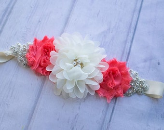 Bridesmaid Belt, Bridal Sash, Coral Bridesmaid Sash, Maternity Sash, Bridal Belt, Flower Girl Sash, Coral Maternity Sash, Bridesmaid belt,