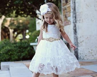 Flower Girl Dress, Rustic Lace Flower Girl Dress, White Lace Dress, Boho Wedding Dress, Flower Girl Dresses, Country Flower Girl Dress