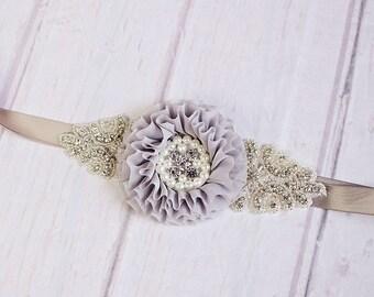 Bridesmaid Sash, Gray Bridal Sash, Flower Sash, Rustic Maternity Sash, Rustic Bridal Belt, Flower Girl Sash
