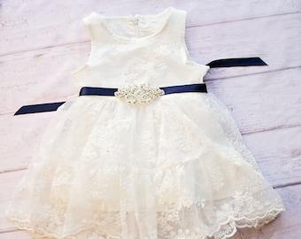 b0cdebe99d34ee Rustic Flower Girl Dress, White Lace Dress Navy Sash, Flower Girl Dresses,  Rustic Lace Flower Girl Dress, Off white Dress