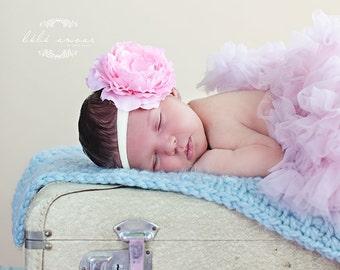 Easter Baby Headband..Big Bow..Newborn Headband..Infant..Toddler..Flower Girl Headband