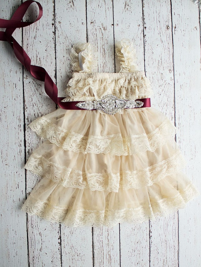 Rustic Flower Girl Dress, Wheat Lace Dress- Burgundy Sash, Tan Rustic Lace Flower Girl Dress, Birthday Dress, Thanksgiving Outfit