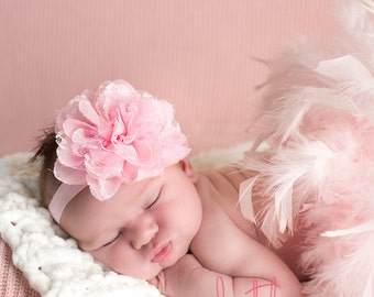 Newborn Headband, Baby Flower Headband, Toddler Headband, Newborn Coming Home Headband, Infant Headband, Pink Headband, Baby Girl Headband
