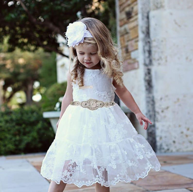 03fa197f3c2 Rustic Flower Girl Dress Rustic Flower Girl Dress White Lace