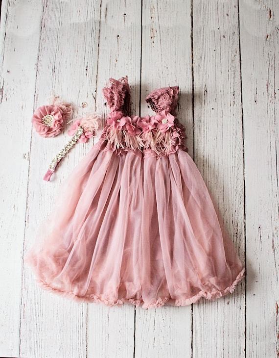 Rustic Lace Mauve Flower Girl Dress Headband Country Style Flower Dress Girls 1st Birthday Dress Toddler Tulle Wedding Dress Gift