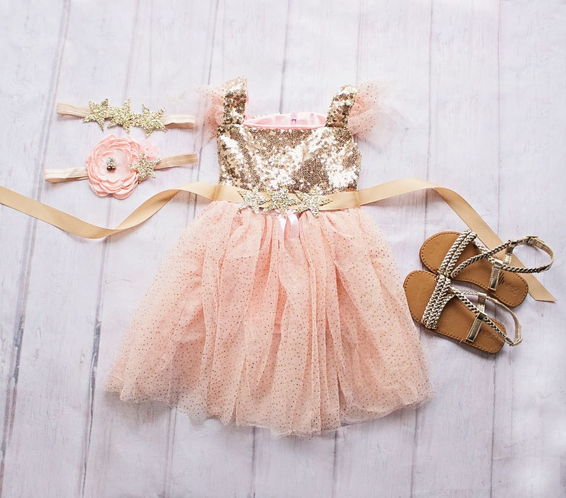 Gold /& Pink Birthday Dress for girls First Birthday Flower Girl Gift Twinkle Twinkle Little Star Birthday Glitter Outfit,