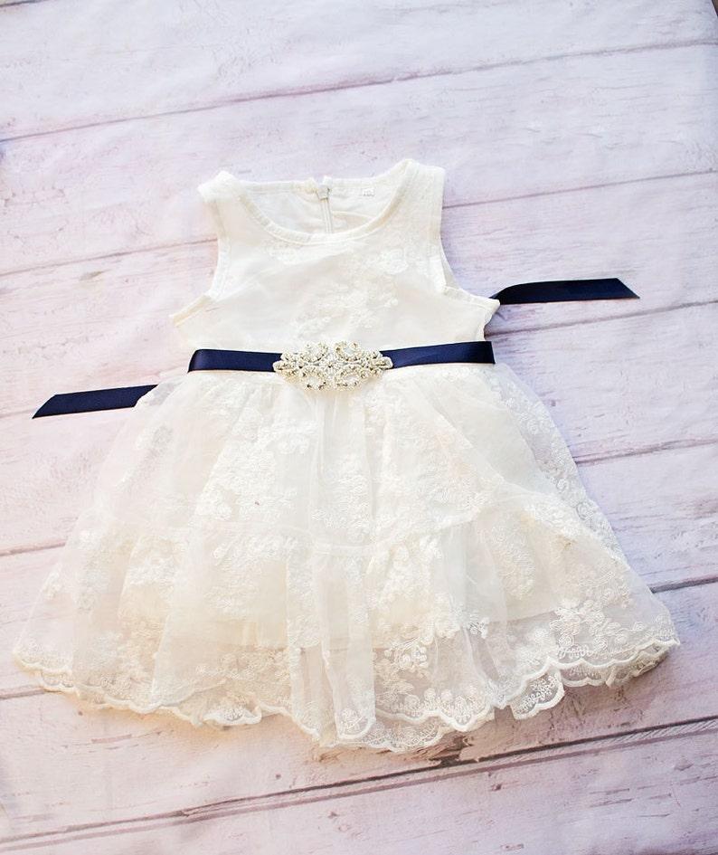 Rustic Flower Girl Dress White Lace Dress Navy Sash Flower image 0