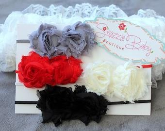 CLEARANCE- Headband set... Holiday Mini shabby set headband ....Newborn headband set..baby girl headband..Cyber monday