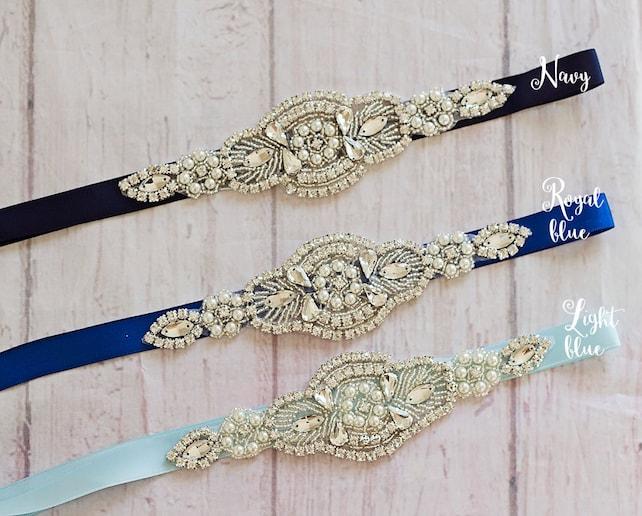Bridal Sashes..Something Blue..Rhinestone Belt -Flower Girl Sash..Bridal Belt/ Sash..Bridesmaid Coordinating Sashes..Maternity Sash