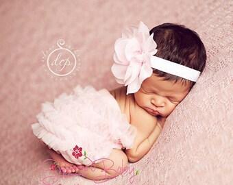 baby headband, newborn headband, baby girl headband, pale pink headband, newborn headband, newborn flower headband