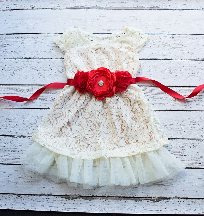 Girls Christmas Dress dress Red Flower Girl Dress Champagne image 0