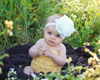 CLEARANCE flower headband for toddler girl..newborn..ivory big flower headband..photography prop