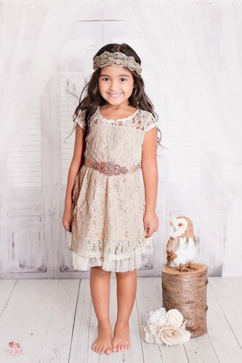Girls Tan Lace Dress
