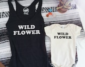 WILD FLOWER - Raser back Tank Top - Mama Tank - Vintage Inspired - Boho Mama - Black or Grey