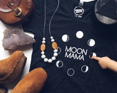 MOON MAMA - Black Tee Shirt - Women's Tee Shirt - Cotton Shirt - Modern Motherhood - Mom Life - Moon Phases - Full Moon - Luna - La Luna