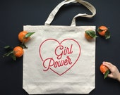 GIRL POWER - Tote Bag - Equality - Feminist Tote bag - Natural White - Market Bag - Grocery Tote - Canvas Recycled Bag