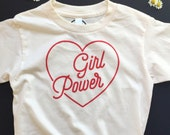 GIRL POWER - Kids and Youth Tee Shirt  - Revolution - Equality - Feminist Shirt- Natural White - Organic T-Shirt