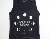 MOON MAMA - Black Racer Back Tank - Womens Tank Top - Vintage feel cotton - Modern Motherhood - Mom Life - Moon Phases - Full Moon