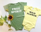 FREE SPIRIT - Organic Baby Onesie - Spring baby - Hippie - Boho Baby - Hippie Kid