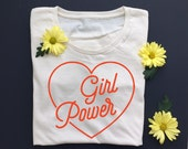 GIRL POWER - Women's Tee - Revolution - Equality - Girl Power Shirt- Natural White - Organic T-Shirt - Women's March - Feminist Tee Shirt