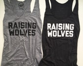 Raising Wolves - Womens Tank Top - Adult Tank - Grey Vintage Feel Womens Tank - Black Tank Top - Wolf