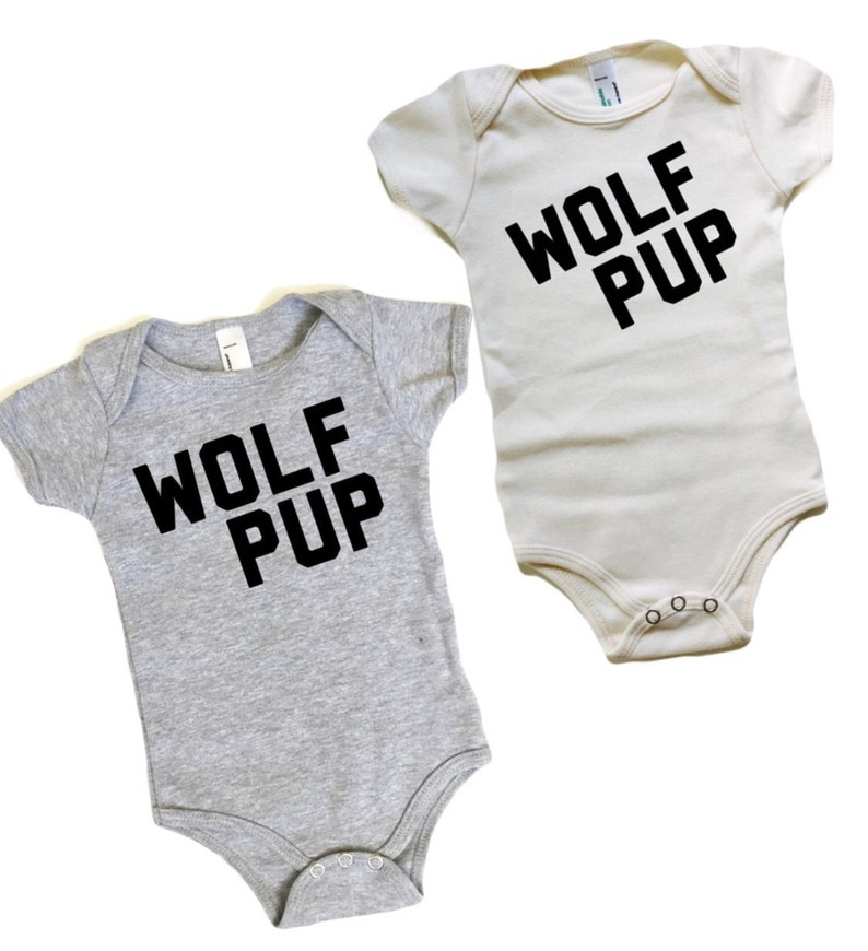 58ed6b83c Wolf Pup Organic cotton Romper Wolf One-piece Grey or