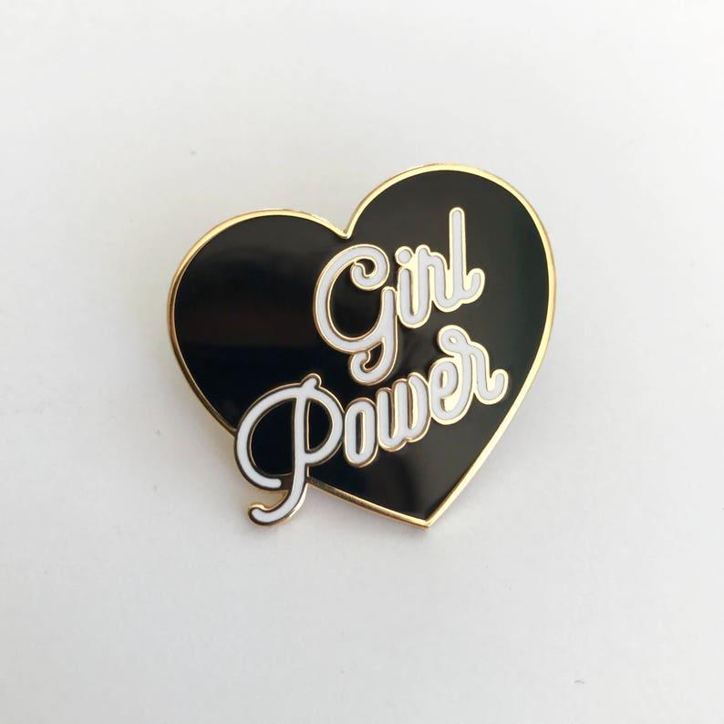 Hard Enamel Pin Feminist Pin Equality Red Girl Boss Pink White Glitter or Black Enamel Pin Girl Gang Girl Power Pin