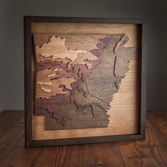 Sold*** Arkansas Map, Arkansas State, Topographic Map, Hand Carved, Wood  Wall Art, Epoxy and Wooden Map, Custom Frame, Arkansas River