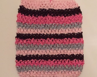 "CLEARANCE SALE- Pinks, Brown, and Gray Striped 8.5"" Crochet Tube Top"