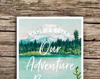 Mt. Rainier Postcard Save the Dates // Seattle Adventure Save the Date Postcards Mountain Wedding Cascades Washington Mount Rainier National