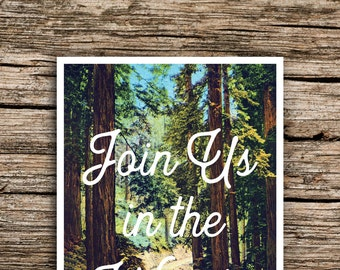 Rustic Redwoods Vintage Postcard Save the Date // Redwood Tree Wedding Invitation Woodland Save the Date California Oregon Pacific Northwest