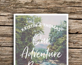 Adventure River Save the Date Postcard // Outdoorsy Wedding Hills Mountains Pines Trees Wedding Vintage Postcard Save the Dates Creek