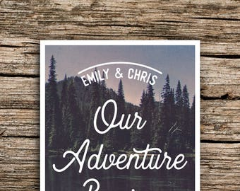 Pine Mountain Vintage Postcard Save the Date // Woodland Wedding Save the Date Postcard Mountain Save the Date Adventure Camp Wedding