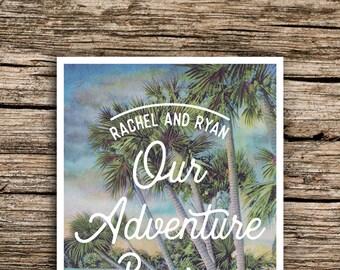 Bayou Adventure Save the Date Postcard // Destination Wedding Save the Dates Palm Trees Postcard Florida New Orleans Everglades Vintage